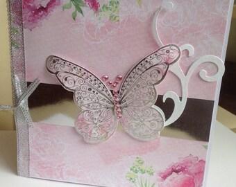 Shabby Chic Handmade Butterfly Card