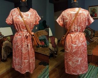 Vintage Summer - Holiday dress / Dress with belt /  Size M-XL / 80s