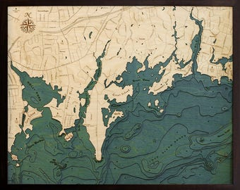 Darien Wood Carved Topographic Depth Map