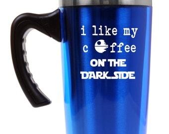 I Like My Coffee on the Dark Side Vinyl Decal White