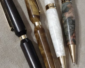 Classy Exotic Writing Pens, Hand Turned Acrylic Writing Pens, Gold Accents, Hand Turned, Executive Style, Gift for Boss, Promotion
