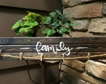 Stained Wooden Family Picture Sign