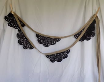 CLEARANCE- Lace Bunting with burlap-look ribbon- black