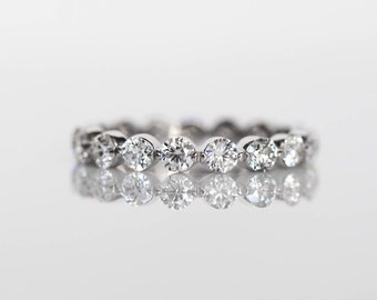 Women's Diamond Eternity Band, Single Prong Eternity Band with 10 Pointer Diamonds All Around