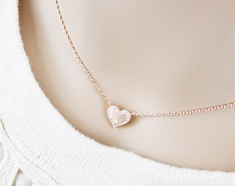 Dainty Rose Gold Brushed Heart with Rhinestone Necklace Bridesmaid Gift Bridesmaid Necklace Wedding Jewelry Birthday Gift
