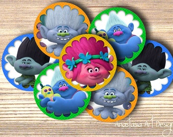Trolls cupcake toppers, favor tags, napkin rings - Birthday Party Invites Supplies