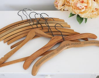Vintage 1920s Wooden Hangers Lot of 10 / Ten Old Hollywood Dry Cleaners Wood Hangers Set / Clothing Hangers Storage