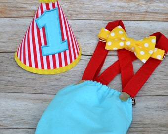 Boy Cake Smash Outfit, Circus Cake Smash, Clown Cake Smash Outfit, Boys 1st Birthday, Birthday Outfit, Boys Birthday, Circus Clown Birthday