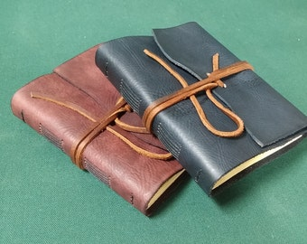 Rustic Leather Journal, Handmade, Hand stitched, Parchment Paper