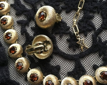 STAR Parure Set Necklace Bracelet  Earrings Gold ToneTopaz Colored Rhinestones