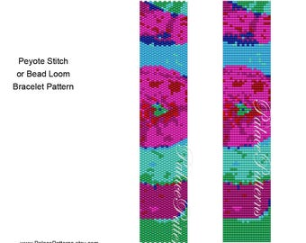 Hot Pink Flower Bracelet Pattern for Peyote Stitch or Bead Loom, Delica Bead Bracelet Pattern