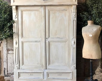NOW SOLD - Rustic vintage French handpainted knockdown wardrobe