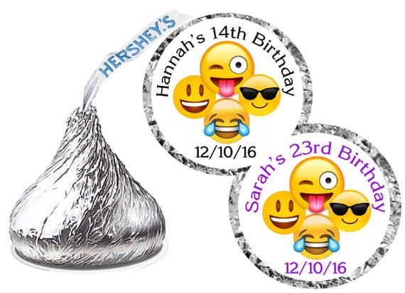 Personalized Emoji Party Hershey Kiss Stickers
