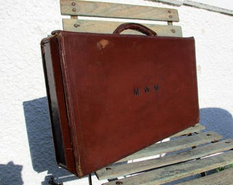 Vintage Suitcase, Leather Luggage, Carry On Luggage, Suitcase, Vintage Luggage, Storage Case, Home Decor, Small Case, Old Suitcase