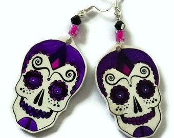 Sugar Skull Drop Earrings,Sterling Silver Fish Hooks,Sterling Silver Earwire,Hand Crafted,Day Of The Dead Earrings, Good For A Gift Or You!8