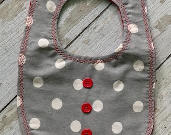 Gray and Red Polka Dot Bib