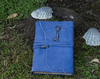 Blue Medieval Leather Journal, Skeleton Key