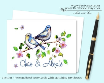 Free Ship!  Set of 12 Personalized / Custom Notecards, Boxed, Blank Inside, Floral, Birds, Branch, Leaves, Initials, Monogram, Name