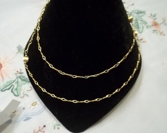 Monet Gold Tone Flapper Style Necklace with Balls