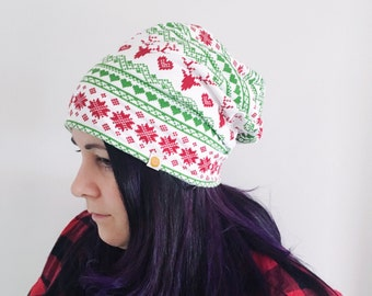 Christmas slouchy beanie red green buck winter hat lined with organic bamboo fleece