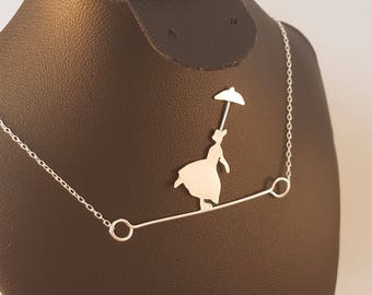 Sterling Silver Tight Rope Walker With Umbrella Necklace Pendant