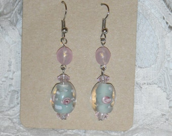 Pink and Blue Dangle Earrings