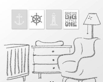 Nautical nursery print, anchor, steering wheel, lighthouse, monochrome gray, gender neutral, digital image set x61 380 8907