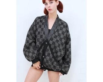 Vintage- 80s- Retro- Unique- Black & White- CHECKERED- Warm- WOOL- MOHAIR- Jacket- Cardigan- Sweater- M- Medium