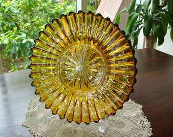 Amber Glass Plate ...  Decorative Plate ... 1940's - 50's Amber Glass ... Home Decor ... Large Serving Plate ... Wedding Gift