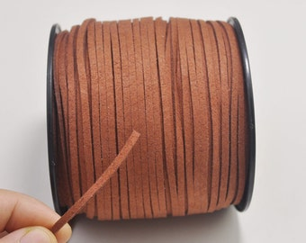 2.7mm Signal brown Faux Suede Leather Cord,100 yards(One Roll) Microfiber,Vegan Suede,DIY Cord Supplies,Flat Faux Suede Cord,Supplies--18#