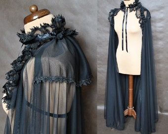 Extra long tulle Cape Mist Gothic Victorian Vampire Elegant Burlesque black, costume, prom, goes to ground, Halloween