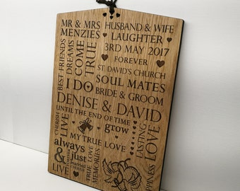 Wedding Gift Personalised Wooden Plaque Sign - Bride And Groom Present
