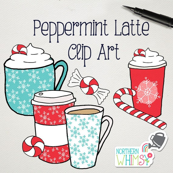 Christmas Coffee Clip Art Peppermint Latte