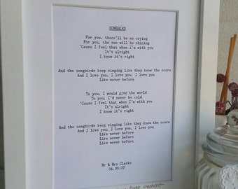 Personalised 'Your Song' Framed Print