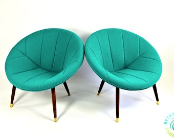 Newly Upholstered & Refurbished Pair of Mid Century Modern Vintage Pod Lunar saucer Lounge Chairs