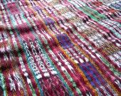 Vintage Footloom Woven Guatemalan Red and Metallic Ikat Fabric - Corte Skirt from around Guatemala