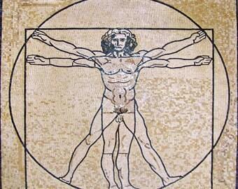 "Leonardo Da Vinci ""he Vitruvian Man "" - Mosaic Reproduction"