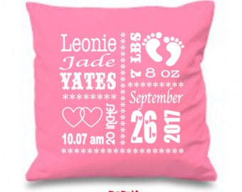 Birth pillow etsy birth announcement pillow pink fonts new baby gift personalized baby gift birth negle Images