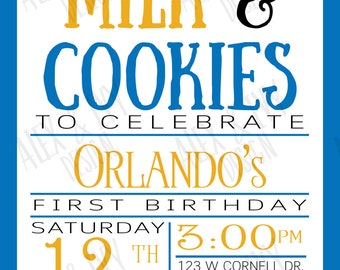 Cookie Birthday Invitation// Cookie Monster inspired first birthday