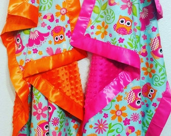 Owl baby blanket, minky, baby girl, pink orange
