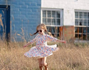 Girls Blossom Print Dress, Floral Dress, Girl Dresses, Dresses, Twirly Dress, Girls Clothing  Sizes 2/3, 4/5, 6/6X, 7/8, 10/12 Ready to Ship
