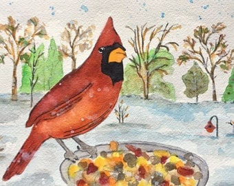 Northern Cardinal Bird Watercolor, Cardinal In The Snow, Cardinal Art, Bird Lover Gift, Cardinal Watercolor, Bird Paintings, Red Birds