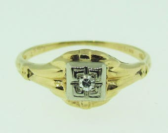 Vintage 1940's gold and diamond engagement ring.