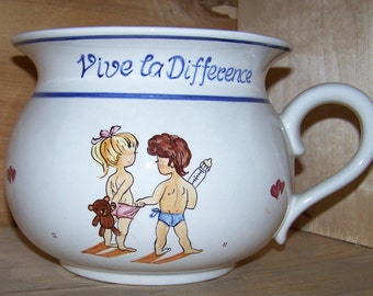 Chamberpot Handpainted Ceramic in old world style made in Austria