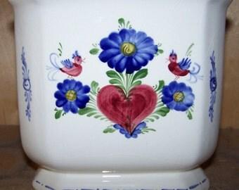 "9"" Angular Flowerpot Handpainted Ceramic in old world style made in Austria"