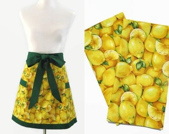 Plus Apron & Tea Towel Set, Lemon Apron and Tea Towel Gift Set, Plus Lemon Kitchen Gift, Plus New Home Gift Set, Plus Bridal Shower Gift Set