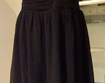 Evening dress, dress strapless, Eve, cocktail or ceremony, chiffon, strapless draped with whales, black, T. 42, size US 32