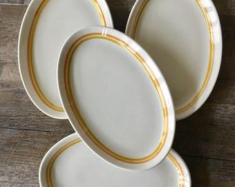 Vintage Shenango China Restaurant Ware Plates, Shenango Form | oval plates, steak plates, yellow and orange dishes, retro plates, stripes