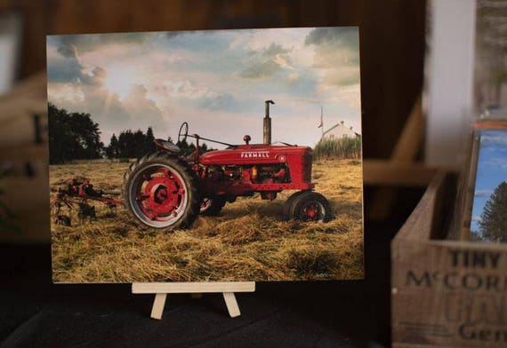 8 x 10 Farmall Tractor Farm on Wood with Easel