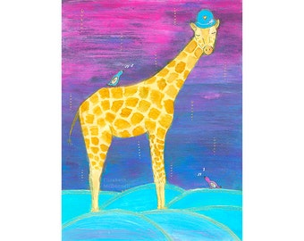 Giraffe nursery wall art. Children's wall art animals. Safari nursery art print. Baby animal art. Giraffe nursery print. Safari animal print